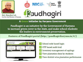 Hon'ble Chief Minister, Haryana launched Paudhagiri website and Moble app on 16th July 2019 for collecting and providing the information about plantation in the State