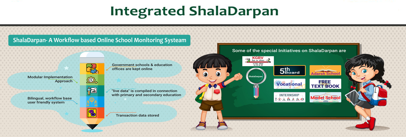 Image of Design & Developed by NIC, ShalaDarpan is an integrated…