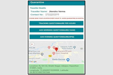 NIC developed COVID-19 Quarantine Tracker mobile App implemented in Udaipur to track the persons who have been quarantined & advised isolation.