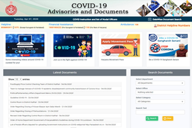 NIC developed a web portal for Haryana Govt, providing one-stop information related to COVID-19 advisories, notifications & awareness material