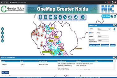 NIC developed 'GIS Based Covid-19 Care' module of OneMap Greater Noida updated with Covid Hotspots for information to demarcate containment zones
