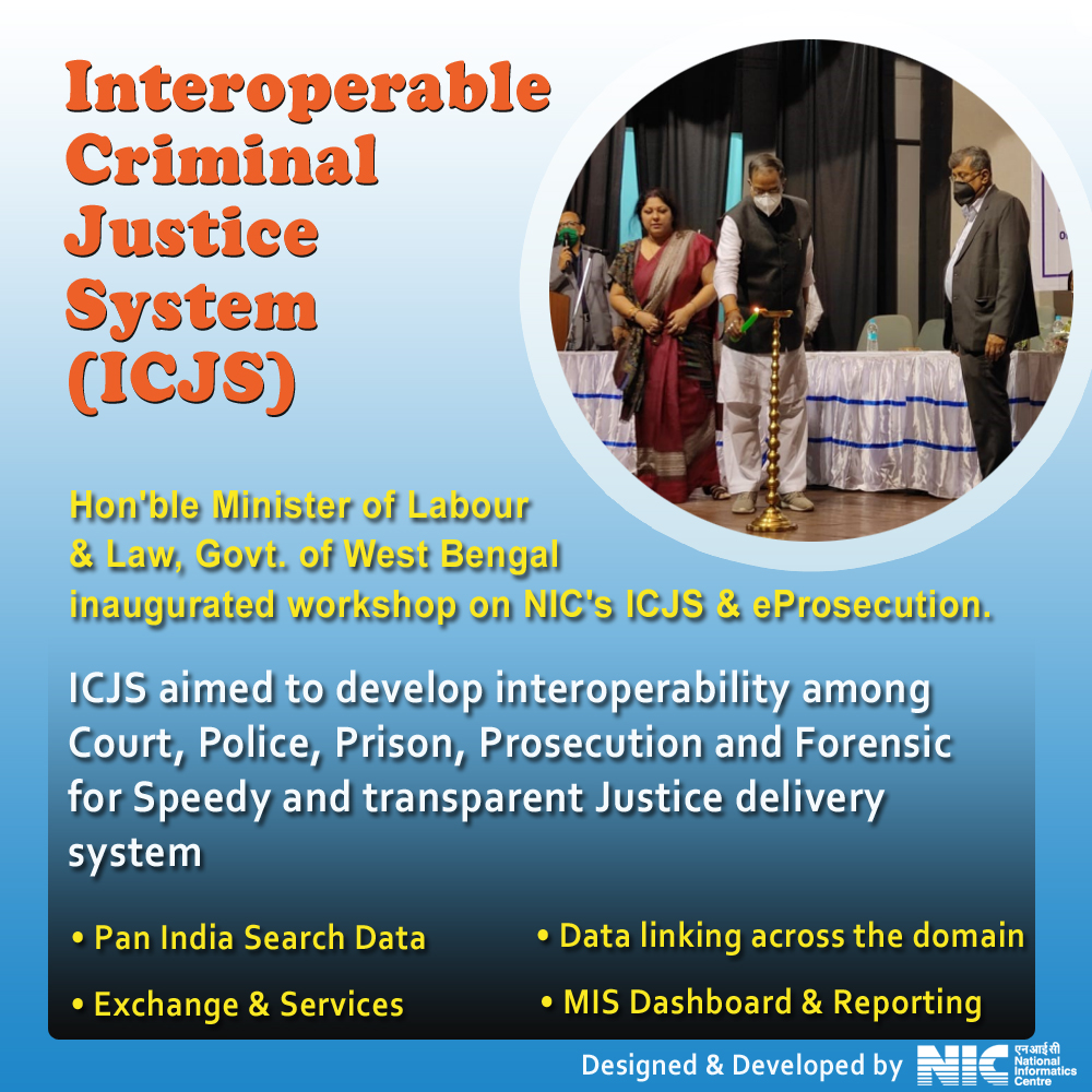 Image of Hon'ble Minister of Labour & Law, Govt. of West Bengal inaugurated workshop on NIC's ICJS & eProsecution.