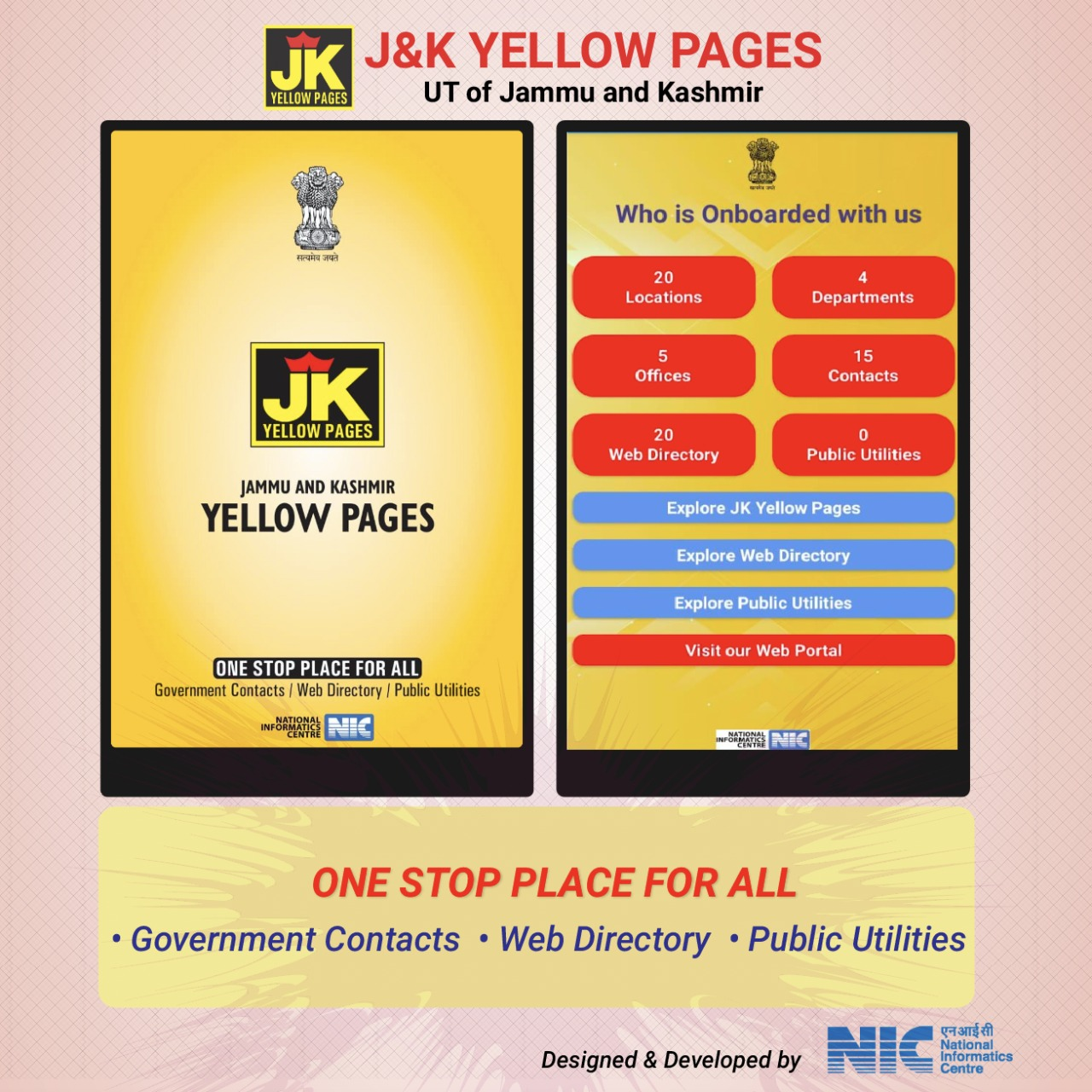 Image of NIC developed Yellow Pages mobile app launched in the UT of J&K.