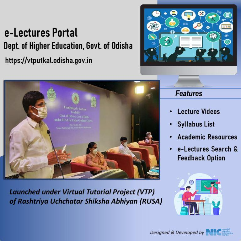 Image of Hon'ble Minister for Higher Education, Govt. of Odisha, launched NIC developed e-Lectures portal.