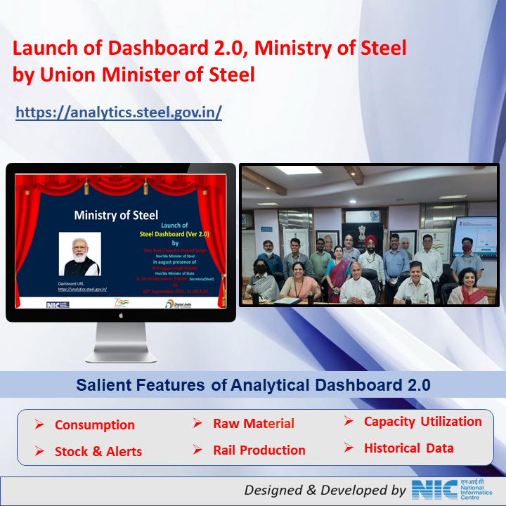 Image of Dashboard 2.0 of the Ministry of Steel Launched by Hon'ble Union Minister of Steel