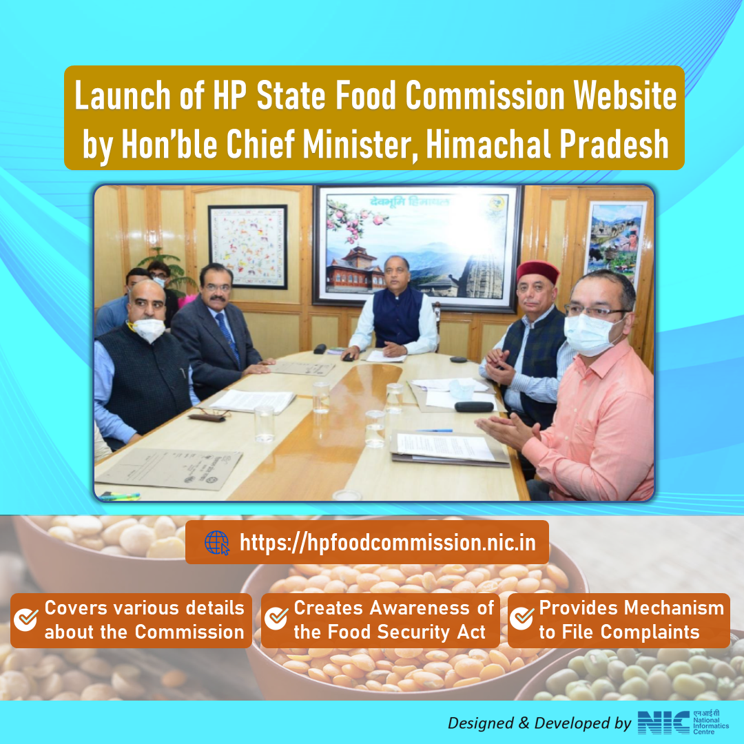 Image of Hon'ble Chief Minister, Himachal Pradesh launched the Himachal Pradesh Food Commission website, developed by NIC