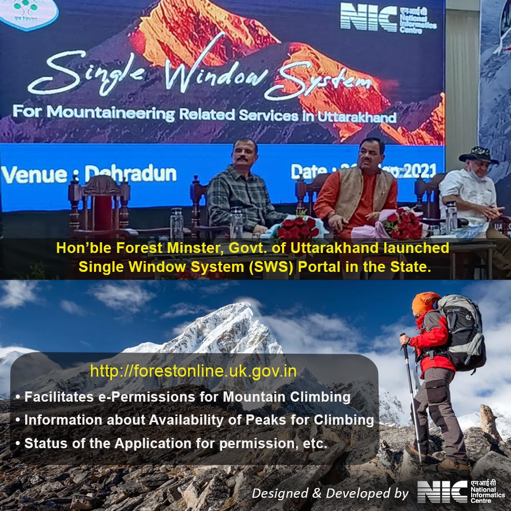 Image of Hon'ble Forest Minster, Govt of Uttarakhand launched NIC developed Single Window System portal for Mountaineering related services in Uttarakhand.